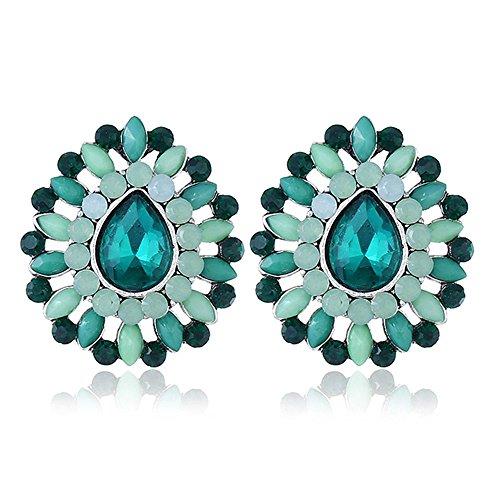 MEEOI exageración de la moda Ear Stud Earrings Ear Hoop 925 de plata esterlina para mujer, gota de agua, resina, resina, pendientes verdes