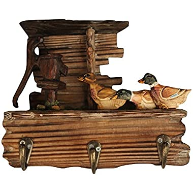 Comfy Hour 6  Farm Animals Hand Carved Wooden Triple Coat Hooks Clothes Rack Decorative Wall Hanger - Duck