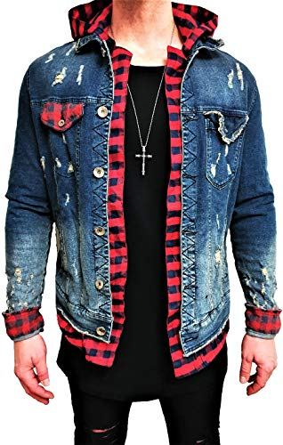Kapuzen Jeansjacke Denim Jeans Jacke Kapuzenjacke Hoodie Herren Sommerjacke Sommer Grau Black Biker Motorrad Designer Blouson Sweat Men Leather Flieger Wende Piloten Slim Shirt Hose NEU (S, Blau)