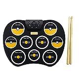 Juego de batería electrónica - Juego de batería enrollable portátil con 9 almohadillas de práctica de batería, baquetas, pedal, soporte para auriculares externos para niños, adultos, principiantes