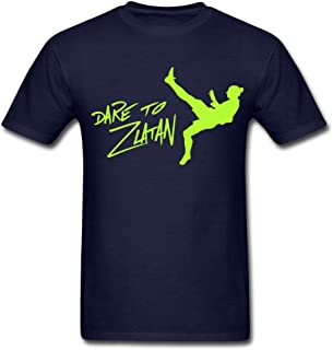 Tiovcoo Men's Navy Casual Cotton Dare to Zlatan Ibrahimovic Logo Short Sleeve Graphic T-Shirt Tee