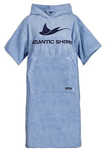 Atlantic Shore | Surf Poncho (Unisex)  Accappatoio/Cotone di Alta qualità Che agevola Il cambiarsi di Abbigliamento  Blu Chiaro  Middle