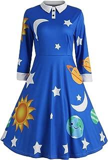 ZEZCLO Women's Solar System Print Pan Collar Costume Dress 1950s Flared Retro Dresses
