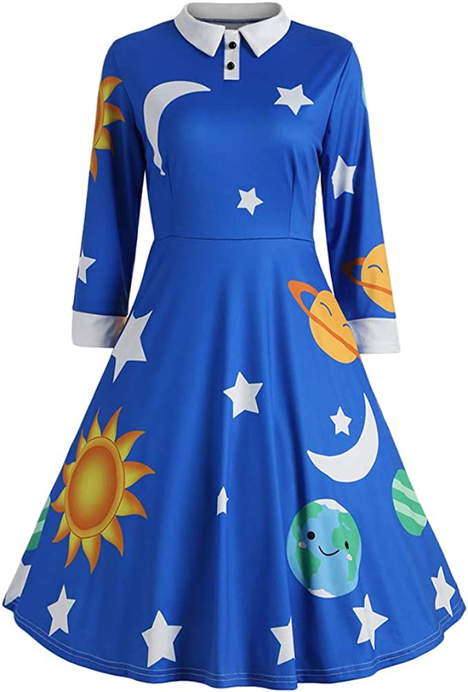 Pin Up Girl Costumes | Pin Up Costumes ZEZCLO Womens Solar System Peter Pan Collar Costume Dress 1950s Flared Retro Dresses  AT vintagedancer.com