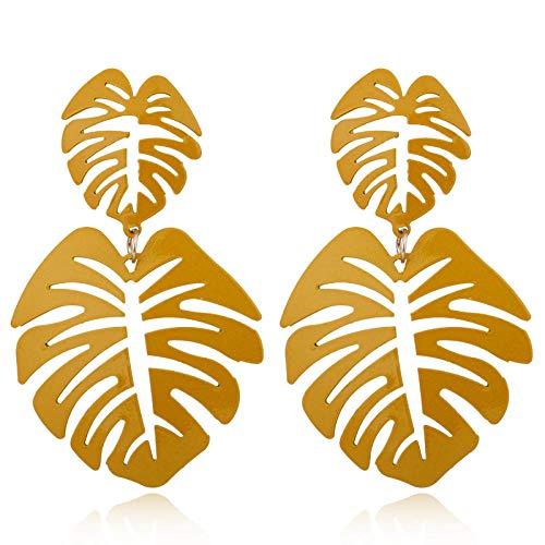 Bohemio colorido género hueco de dos hojas hoja de palma de coco grandes pendientes de playa pendientes grandes de mujer amarillo