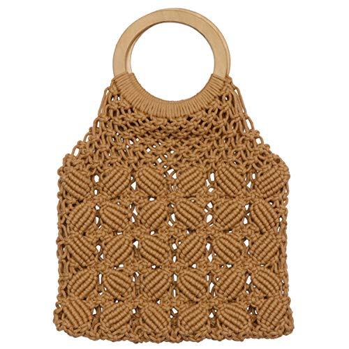 VALICLUD Tote Bag con Manico Tondo Borsa da Spiaggia in Paglia Paglia Borsa Macrame per Donna