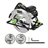GALAX PRO 15A 5300 RPM Corded Circular Saw, Bevel Angle (0-90°) Cuts with 2Pcs TCT Blade (24T+48T) plus 1 Allen Wrench, Aluminum Lower Guard for Wood and Logs Cutting