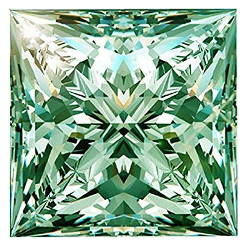Gopi Gems Moissanite floja 3.50 quilates, piedra moissanita de color verde, claridad VVS1, piedra preciosa de corte princesa para hacer anillos vintage, joyas, colgantes, pendientes, collares, relojes