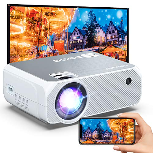 Outdoor Projector, Updated Brighness, Bomaker Portable WiFi Mini Projector for Outdoor Movies, Wireless Mirroring, for iPhone/Android/Laptops/Windows/PCs