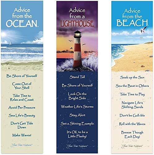 Advice from Nature 3 Bookmark Coastal Set - Ocean, Lighthouse, Beach by Your True Nature AMBM-Coastal.