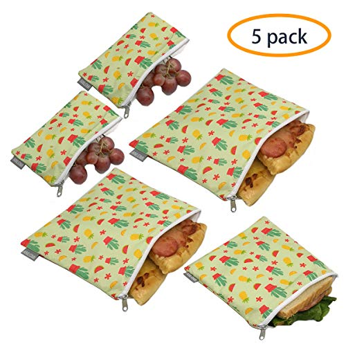Reusable Sandwich Bags Snack Bags - Set of 5 Pack, Dual Layer Lunch Bags with Zipper, Dishwasher Safe, Eco Friendly Food Wraps, BPA-Free. (Cactus)
