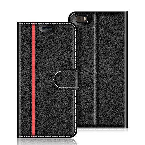 COODIO Handyhülle für Huawei P8 Lite Handy Hülle, Huawei P8 Lite 2015 Hülle Leder Handytasche für Huawei P8 Lite Klapphülle Tasche, Schwarz/Rot