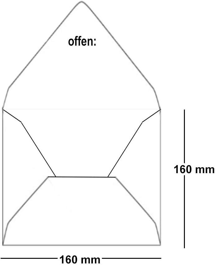 Paper24-20 buste quadrate 16 x 16 cm 90 g//m/² con chiusura a umido