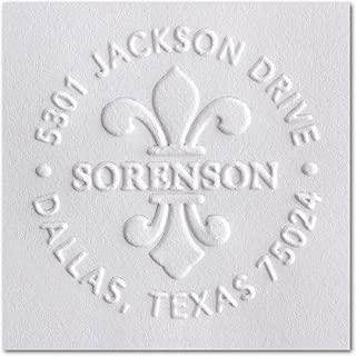 Custom Embosser Style, Address Embosser, Embossing Stamp, Embosser Seal Shiny EZ-Seal Round Decorative Personalized Custom Address Embosser with Name, Designer Hand Held Embosser (Pink Embosser)