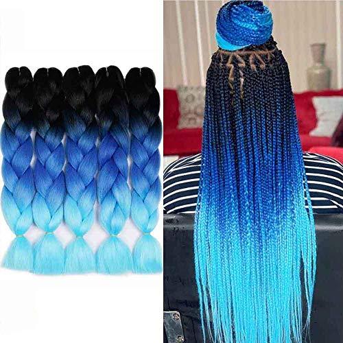 AIDUSA Ombre Braiding Hair 5pcs Synthetic Afro Braiding Hair Extensions 24 Inch for Women Hair 3 Tone Twist Crochet Braids 100g (#48 Black to Blue)