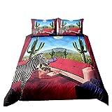Gestreiftes Bettwäsche Set 1/2 Person 3D Regenbogen Zebra Druck Bettbezug Kissenbezug Mode Wildlife Bettdecke Tropical Cactus Polyester Tagesdecke 2/3 Stück (Rot, Single 135x200cm)