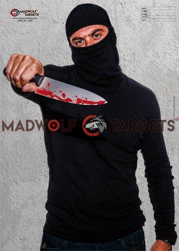 Madwolf Targets Silueta Realista para Tiro táctico - Terrorista (84,1 x 59,4 cm) (Pack 20 Siluetas)