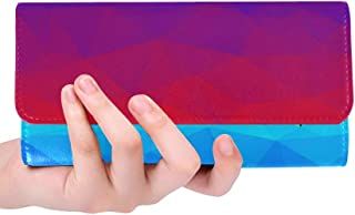 Unique Custom Gradient Red Blue Landfill Graphics Women Trifold Wallet Long Purse Credit Card Holder Case Handbag