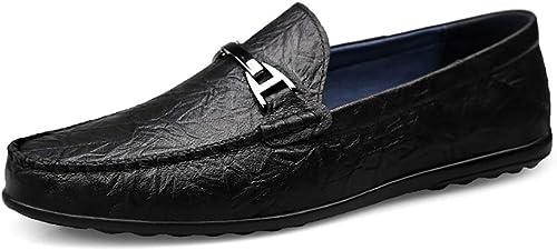 GPF-fei Herrenschuhe Loafers Schuhe Stiefel Schuh-Stiefel Faulschuhe Leder Runde Zehe Schuh komfortabel Fashion Breathable Leisure Leichtgewicht,schwarz,44