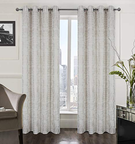 Alexandra Cole White Soft Velvet Curtains 95 Inch Long Luxury Bedroom Curtains Gold Foil Print Window Curtains for Living Room Set of 2