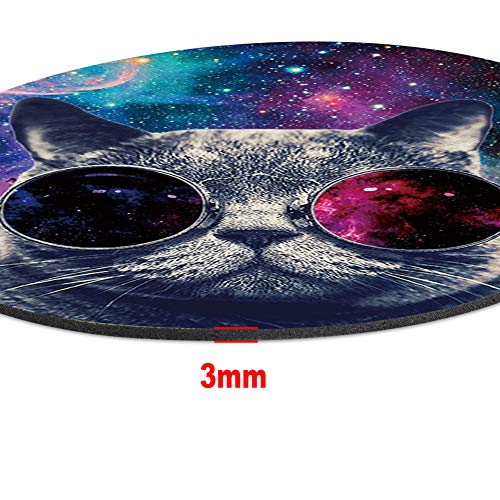 Marphe Mouse Pad Mousepad Non-Slip Rubber Gaming Mouse Pad Round Mouse Pads for Computers Laptop (Nebula Space Cat) Photo #3