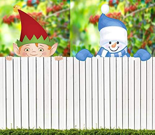 Snowman & Elf Fence Peeker, Christmas Themed Fence and Garden Peeker, Holiday Fence Topper, Yard Art Garden Christmas Holiday Decoration, Home Decor for Lawn Yard Patio (Snowman & Elf)