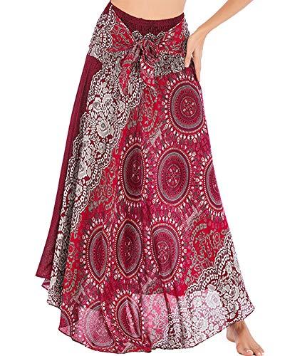 Frauen 2 in 1 Maxirock Boho Hippie Kleider Indischer Langer Rock Böhmen Sommerkleid Strand Tanzkleid Tube Top Kleid Weinrot Einheitsgröße