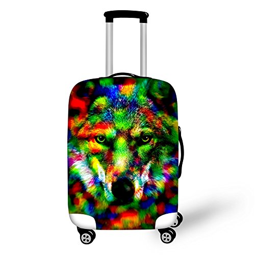 HUGS IDEA Colorful Animal Wolf Pet Dog Husky Pattern Protective Covers for 18 20 22 Inch Suitcase