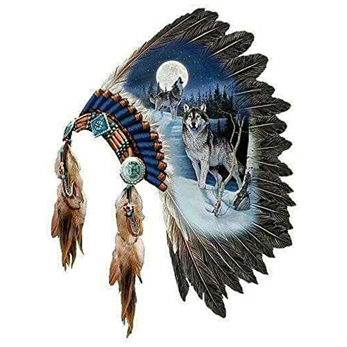 KKMMZ 5D Diamond Painting Wolf Indian Headdress Feathers Full Square Drill 3D Round Full Diamond Embroidery Decorative Painting 11.8 X 15.8 Inch
