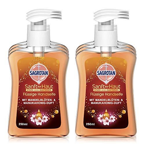 Sagrotan Handseife mit Mandelblüten & Manukahonig-Duft – Antibakterielle Flüssigseife – 6 x 250 ml Seifenspender im praktischen Vorteilspack