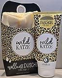 LaVida Relax-Geschenk-Set Wellness Dusch,'Wild KATZE' - Ducha con gel de ducha certificado Naturkosmetik con una toalla de algodón orgánico