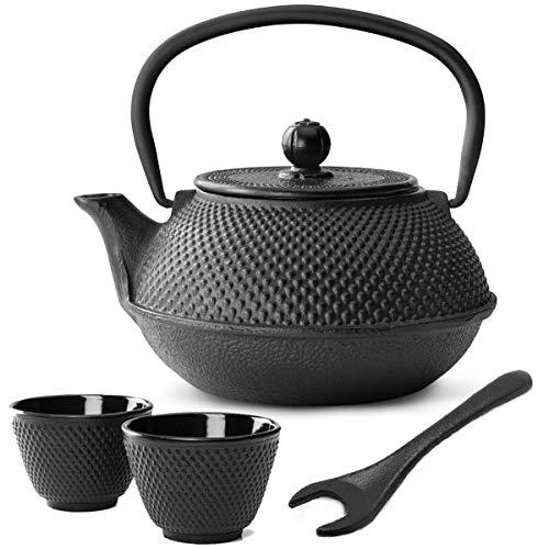 Bredemeijer theepot in kleine zwarte Aziatische gietijzeren theepot 0,8 liter set met theefilter zeef theebeker (2 kopjes) & deksellifter