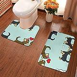 Xinflag@10 Chihuahuas Love Couples Aqua - Juego de 2 alfombras de baño con forma de U y alfombrillas de baño antideslizantes de microfibra para bañera, ducha, baño