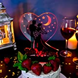 Wedding Cake Topper LED - Flashing Lights Cake Decor - Nightstand Lamp Light Love Under The Moon