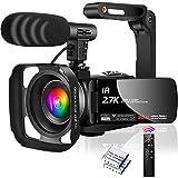 Videocamara Camara de Video 2.7K 30MP Videocámara IR Visión Nocturna Videocamara con Zoom Digital 16X para Youtube,...