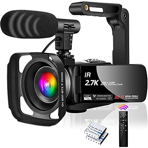 Camcorder FHD 2.7K 30MP Videokamera IR Nachtsicht Videokamera 16X Digital Zoom Digitale Videokamera für YouTube, mit Mikrofon,Gegenlichtblende und Handstabilisator