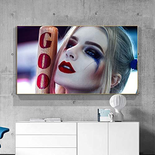 ganlanshu Clown Wanddekoration Malerei Film Porträt Leinwand Kunst für Wohnzimmer Home Dekoration,Rahmenlose Malerei,60X108cm