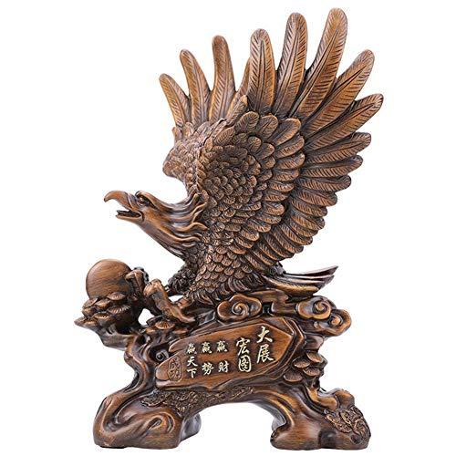 H.Slay Estatua de águila Adorno de jardín Estatuilla de pájaro Feng Shui Decoración de Oficina en casa, 42Cm Alto, Mejor Regalo de inauguración de la casa