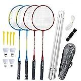 NaiCasy Badminton Racchette Set - Torneo 4 Player Badminton Set con Netto Giardino Easy Setup per Adulti Bambini Famiglia dei Bambini (4 Badmintons, 4 Racchette, Net, Stakes, Post & Storage Case)