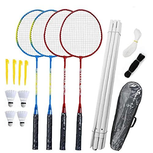 NaiCasy Badmintonschläger Set - Tournament 4 Spieler Badminton Set mit Net für Garden Easy Setup für Erwachsene Kinder Kinder Familie (4 badmintons, 4 Rackets, Netz, Stangen, Post & Speicher-Fall)