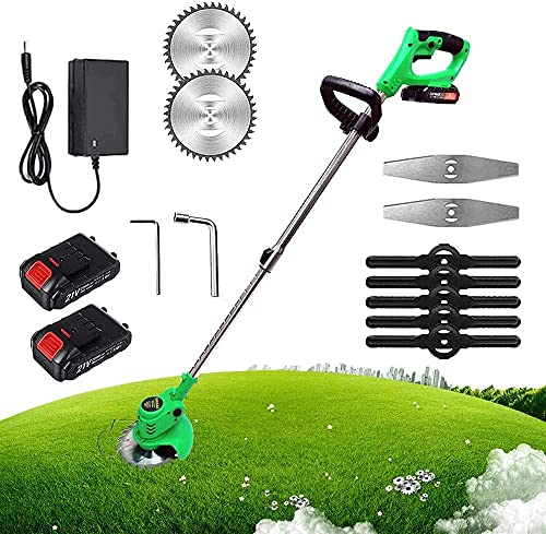 LHMYHHH Cordless Strimmer Professional Electric Hedge Grass Trimmer with 2*Lithium Battery Metal Blades Lightweight Telescopic Cutter Gardening Tools-green