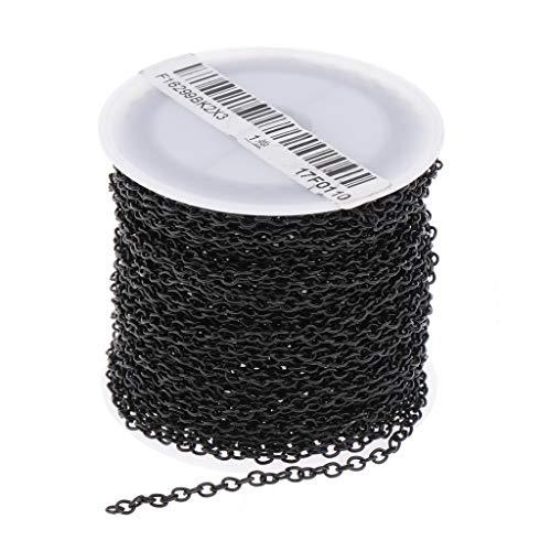 IPOTCH 10 Yards/Rolle Extender Kette Kugelkette Metallkette Gliederkette Kabelkette zum Basteln für Halskette - Schwarz