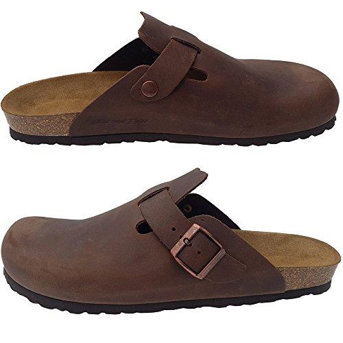 SchatTex Herren Clog aus Leder in der Farbe braun Hausschuh Pantolette Pantoffel EUR 42