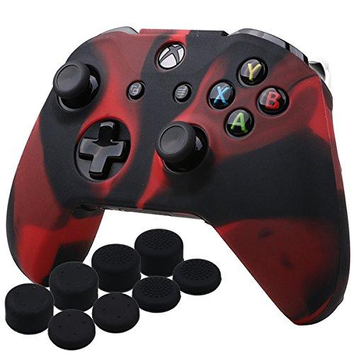 YoRHa Silicona Caso Piel Fundas Protectores Cubierta para Microsoft Xbox One X y Xbox One S Mando x 1 (Negro Rojo) con Pro los puños Pulgar Thumb Grips x 8