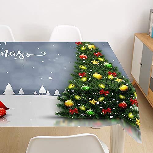 Morbuy Manteles Navideño Manteles de Mesa Impermeable Antimanchas Rectangular Lavable Manteles de Poliéster para Cocina Comedor Decoración del Hogar (árbol de Navidad,140x240cm)