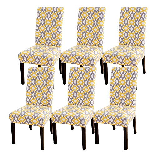 CareMont 6 StüCk Stuhl Abdeckungen, Strecken Abnehmbare Waschbare KüChen Stuhl Abdeckungen Schutz für das Esszimmer, Hotel, Gelb Geometrisch