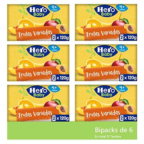 Hero Baby Tarritos de Frutas Variadas - Para Bebés a partir de 4 meses - 6 Packs de 2 x 120 g