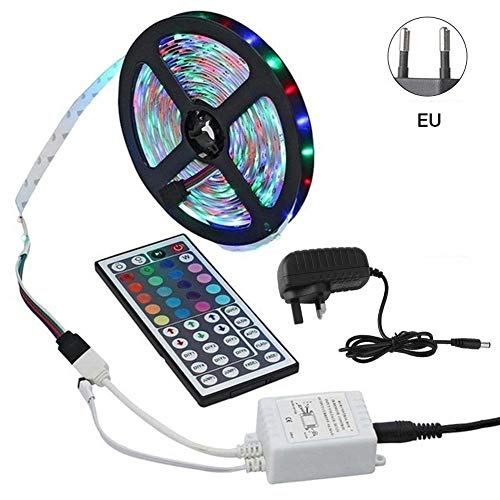 Groust Led-strip, 5 m LED-strip, kleurverandering, LED-strip met key afstandsbediening, infrarood 3528SMD RGB, flexibele lichtbalk met sterke hechting