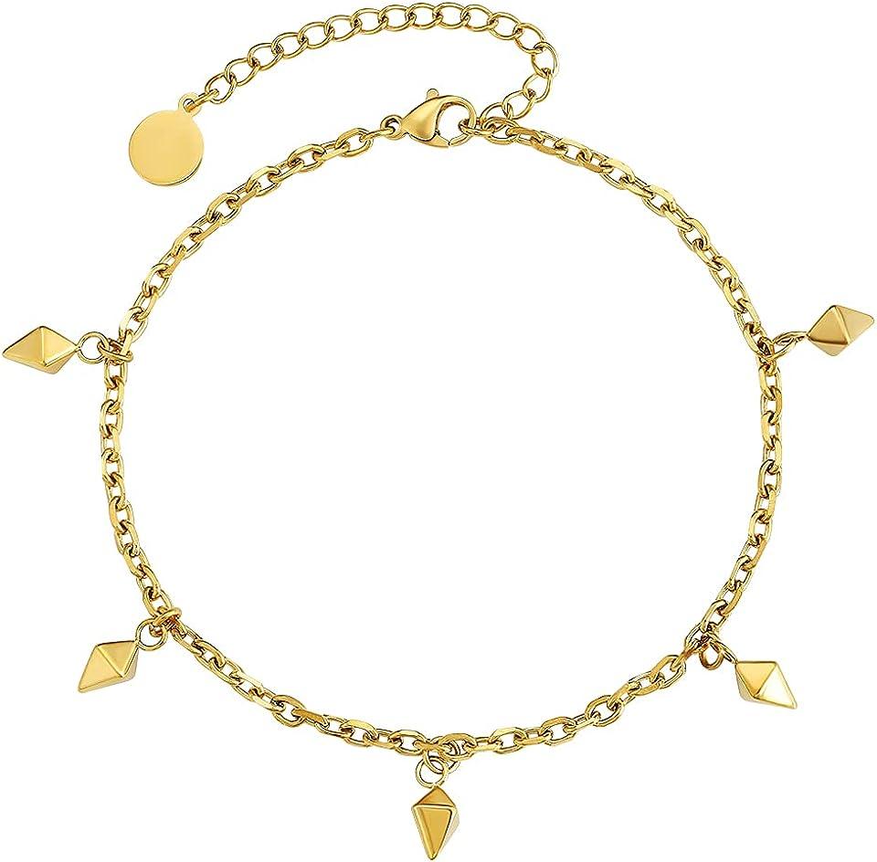 KRKC&CO 4/3mm Damen Fußkettchen Charm-Fußkette, 14K Gold/Weißgold beschichtet Klassische Ankerkette Fußkettchen mit Anhänger, Länge verstellbar Fußspange Fußband Knöchel Armband für Frauen Mädchen
