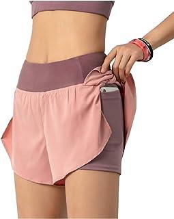 Anna-Kaci pantalones cortos de entrenamiento para mujer de secado rápido 2 en 1 para gimnasio deportivo con bolsillo